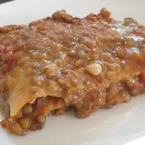 Lasagne con ragù di lenticchie